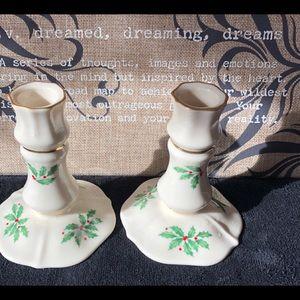 Lenox Christmas Holiday Candle Holders